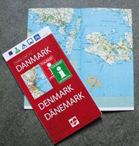Billede af kort over Danmark med cykelruter